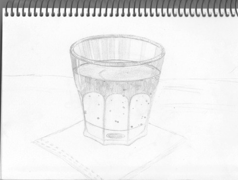Sketch of glass on napkin.